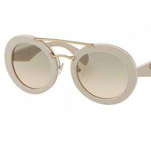 Prada Ornate White Leather Texture SunGlasses
